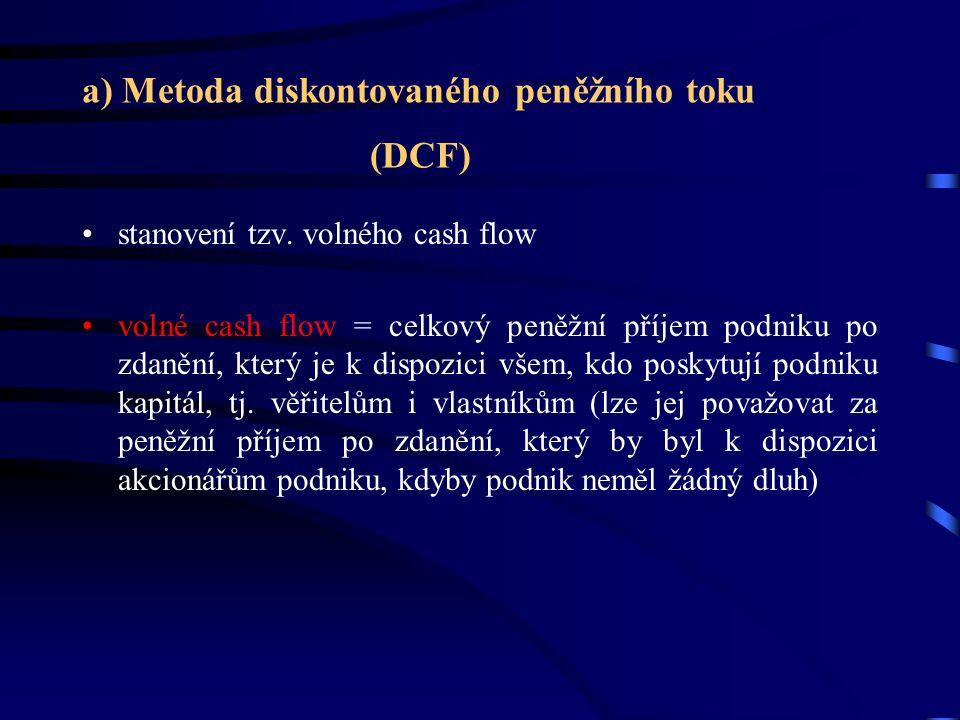 a) Metoda diskontovaného peněžního toku (DCF) stanovení tzv.