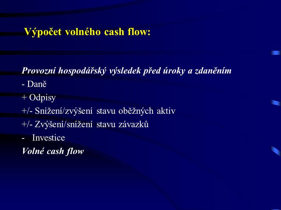 Výpočet volného cash flow: Provozní hospodářský výsledek před úroky a zdaněním - Daně + Odpisy +/- Snížení/zvýšení stavu oběžných aktiv +/- Zvýšení/snížení stavu závazků -Investice Volné cash flow