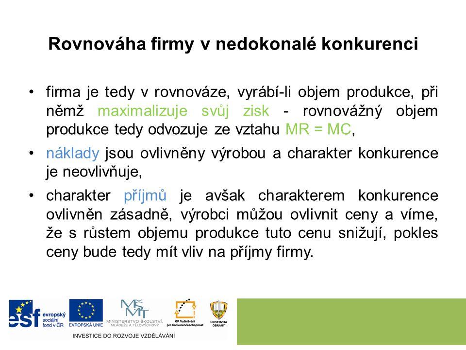 2. ROVNOVÁHA FIRMY V NEDOKONALÉ KONKURENCI.