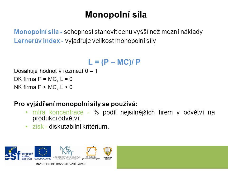 Q* je takové Q, při němž MR = MC P Kč/Q D = AR MR MC AC monopolní zisk Q* P* Q náklady mrtvé váhy (DWL – Dead Weight Loss) Rovnovážný výstup monopolu