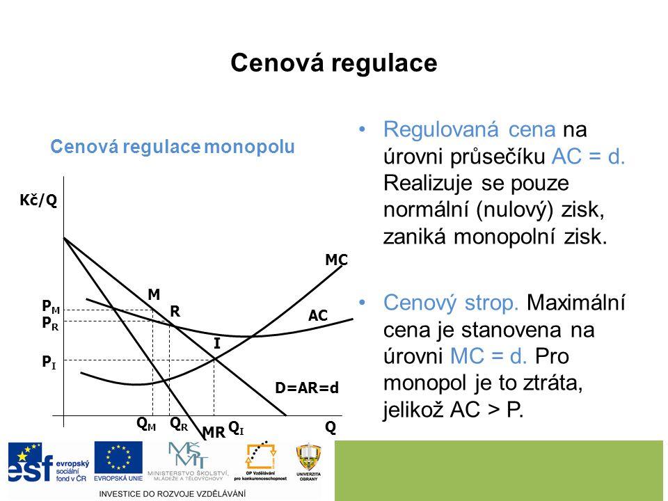 Protimonopolní regulace Důvod: -zneužívání monopolního postavení a -neefektivní využívání vzácných výrobních faktorů. Nástroje regulace: progresivní z