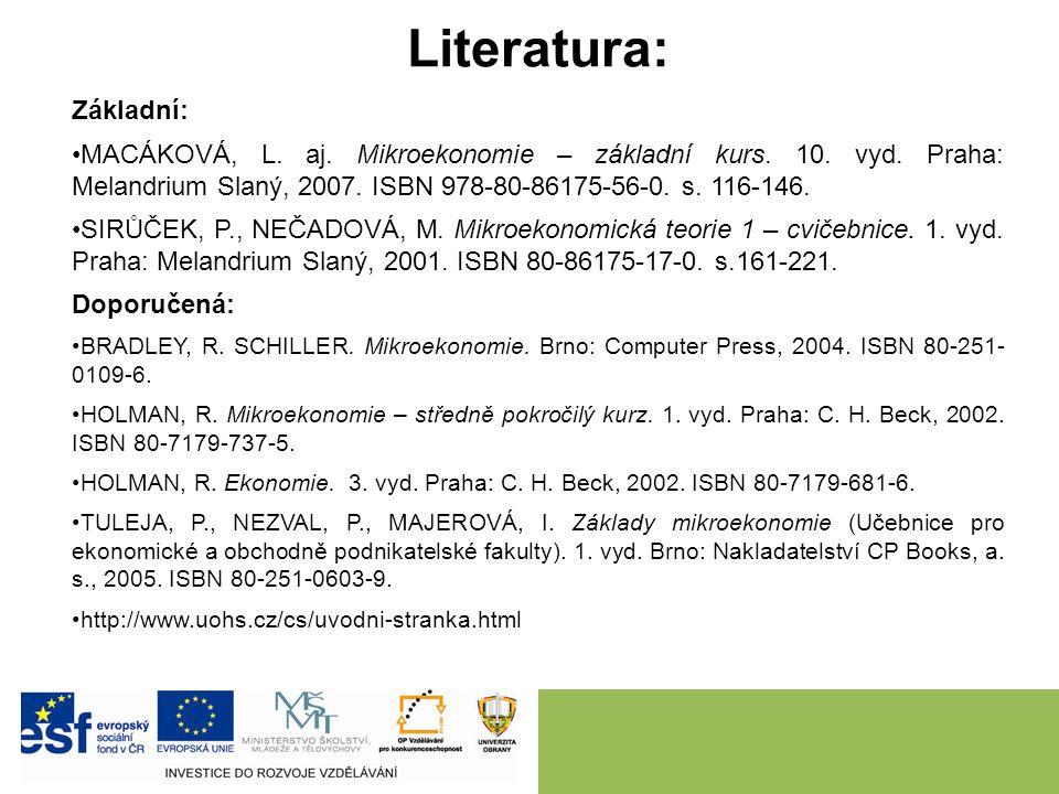 Literatura: Základní: MACÁKOVÁ, L.aj. Mikroekonomie – základní kurs.