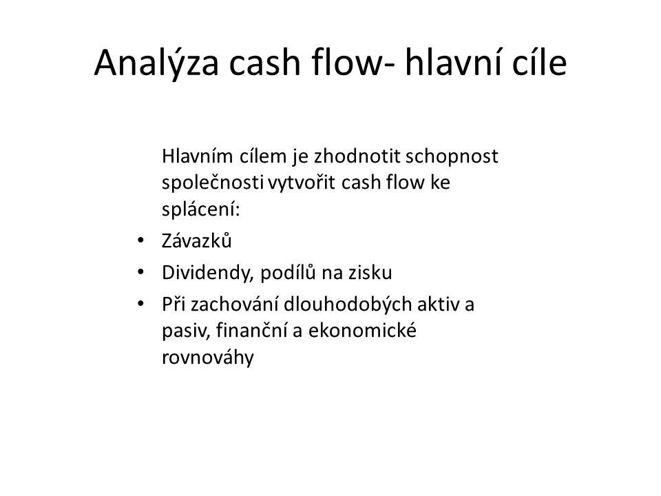 Analýza cash flow- hlavní cíle Hlavním cílem je zhodnotit schopnost společnosti vytvořit cash flow ke splácení: Závazků Dividendy, podílů na zisku Při zachování dlouhodobých aktiv a pasiv, finanční a ekonomické rovnováhy