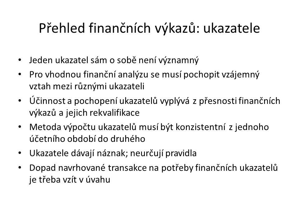 Přehled finančních výkazů: ukazatele Jeden ukazatel sám o sobě není významný Pro vhodnou finanční analýzu se musí pochopit vzájemný vztah mezi různými ukazateli Účinnost a pochopení ukazatelů vyplývá z přesnosti finančních výkazů a jejich rekvalifikace Metoda výpočtu ukazatelů musí být konzistentní z jednoho účetního období do druhého Ukazatele dávají náznak; neurčují pravidla Dopad navrhované transakce na potřeby finančních ukazatelů je třeba vzít v úvahu