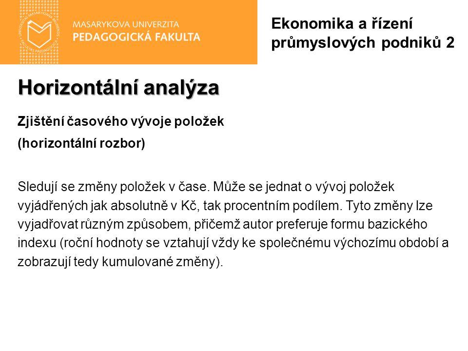 Horizontální analýza Zjištění časového vývoje položek (horizontální rozbor) Sledují se změny položek v čase. Může se jednat o vývoj položek vyjádřenýc