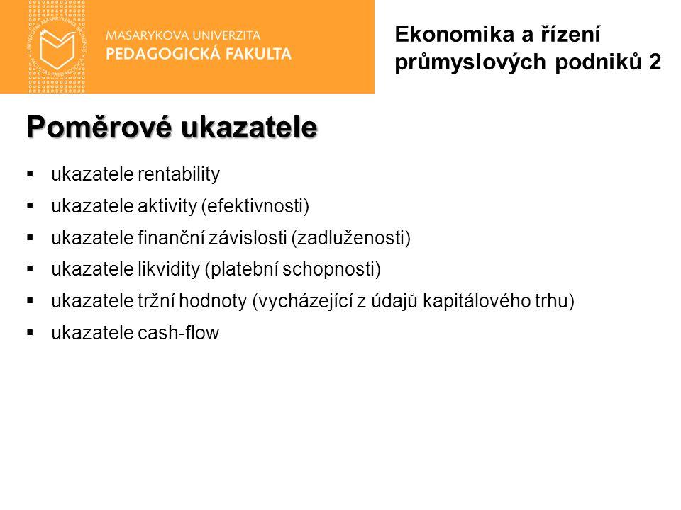 Poměrové ukazatele  ukazatele rentability  ukazatele aktivity (efektivnosti)  ukazatele finanční závislosti (zadluženosti)  ukazatele likvidity (p
