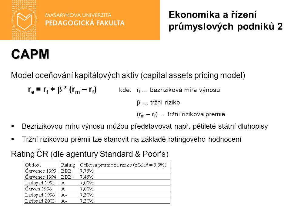 CAPM Model oceňování kapitálových aktiv (capital assets pricing model) r e = r f +  * (r m – r f ) kde:r f … bezriziková míra výnosu  … tržní riziko (r m – r f ) … tržní riziková prémie.