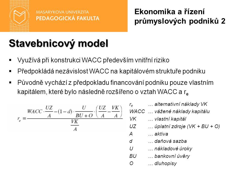 Stavebnicový model  Využívá při konstrukci WACC především vnitřní riziko  Předpokládá nezávislost WACC na kapitálovém struktuře podniku  Původně vychází z předpokladu financování podniku pouze vlastním kapitálem, které bylo následně rozšířeno o vztah WACC a r e r e … alternativní náklady VK WACC… vážené náklady kapitálu VK… vlastní kapitál UZ… úplatní zdroje (VK + BU + O) A… aktiva d… daňová sazba U… nákladové úroky BU… bankovní úvěry O… dluhopisy Ekonomika a řízení průmyslových podniků 2