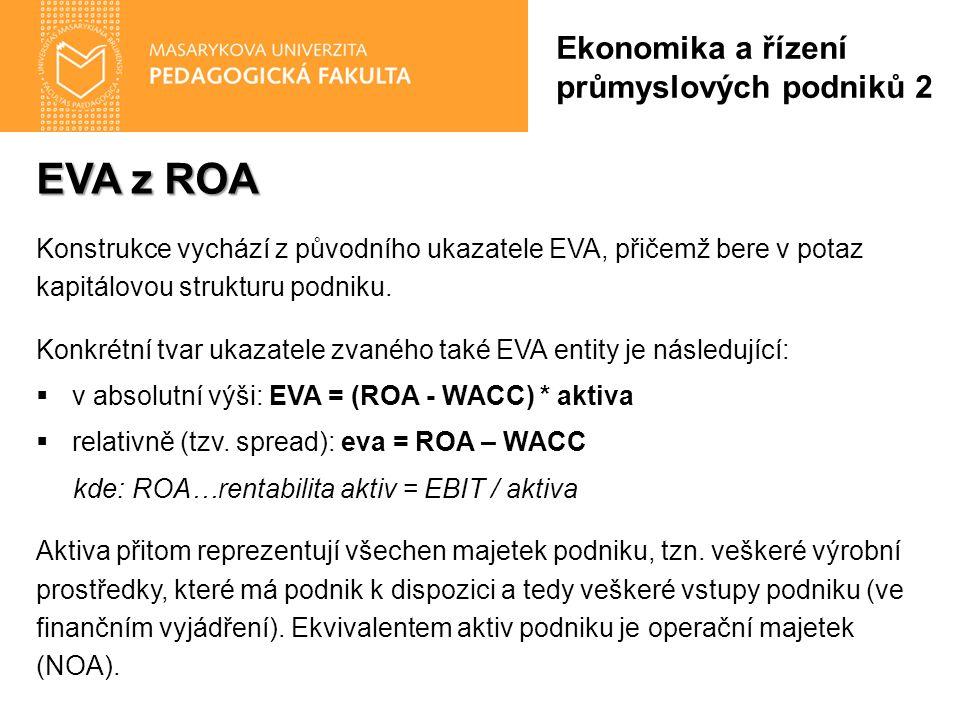 EVA z ROA Konstrukce vychází z původního ukazatele EVA, přičemž bere v potaz kapitálovou strukturu podniku. Konkrétní tvar ukazatele zvaného také EVA