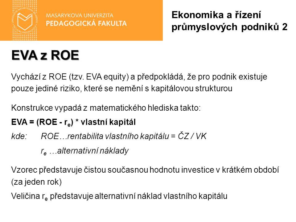 EVA z ROE Vychází z ROE (tzv. EVA equity) a předpokládá, že pro podnik existuje pouze jediné riziko, které se nemění s kapitálovou strukturou Konstruk