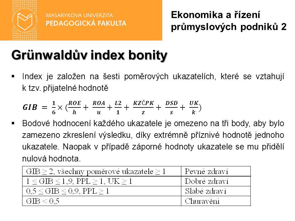 Grünwaldův index bonity Ekonomika a řízení průmyslových podniků 2