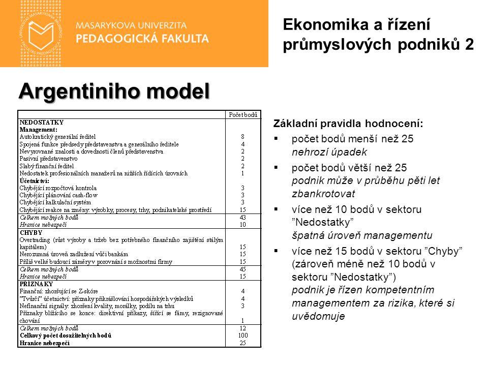 Argentiniho model Základní pravidla hodnocení:  počet bodů menší než 25 nehrozí úpadek  počet bodů větší než 25 podnik může v průběhu pěti let zbank