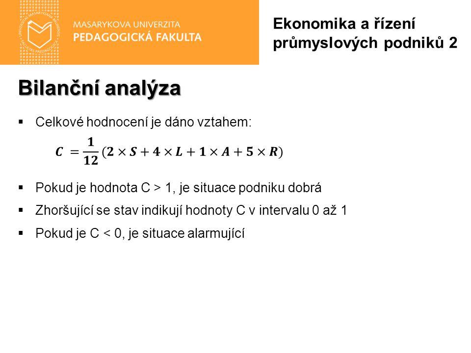Bilanční analýza Ekonomika a řízení průmyslových podniků 2