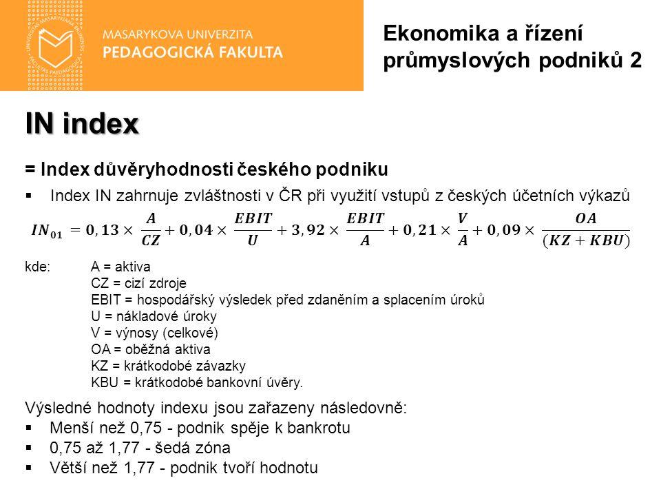IN index Ekonomika a řízení průmyslových podniků 2