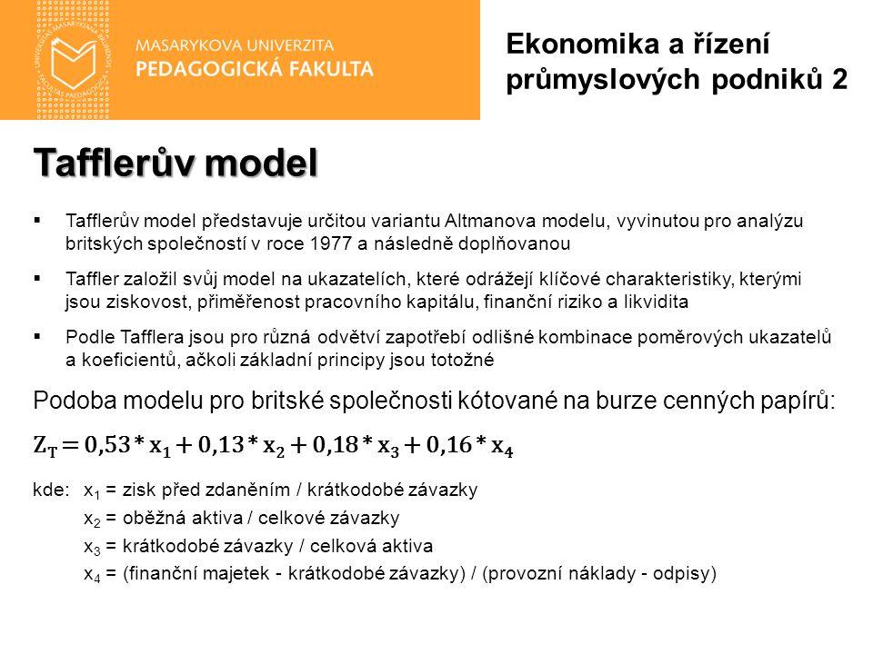 Tafflerův model  Tafflerův model představuje určitou variantu Altmanova modelu, vyvinutou pro analýzu britských společností v roce 1977 a následně do