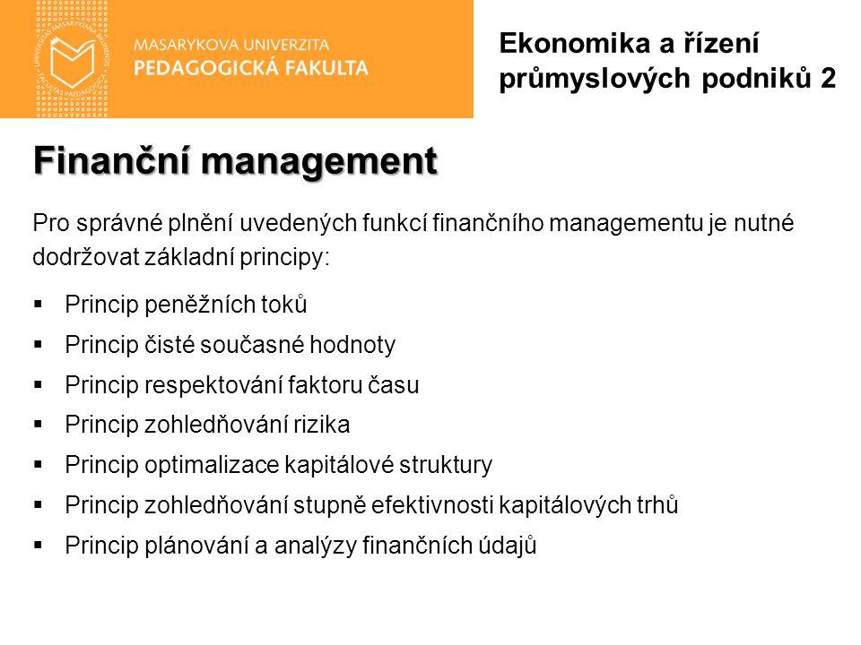 Finanční management Pro správné plnění uvedených funkcí finančního managementu je nutné dodržovat základní principy:  Princip peněžních toků  Princi