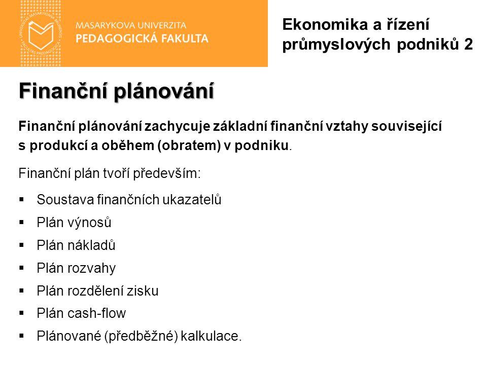 Finanční plánování Finanční plánování zachycuje základní finanční vztahy související s produkcí a oběhem (obratem) v podniku. Finanční plán tvoří před
