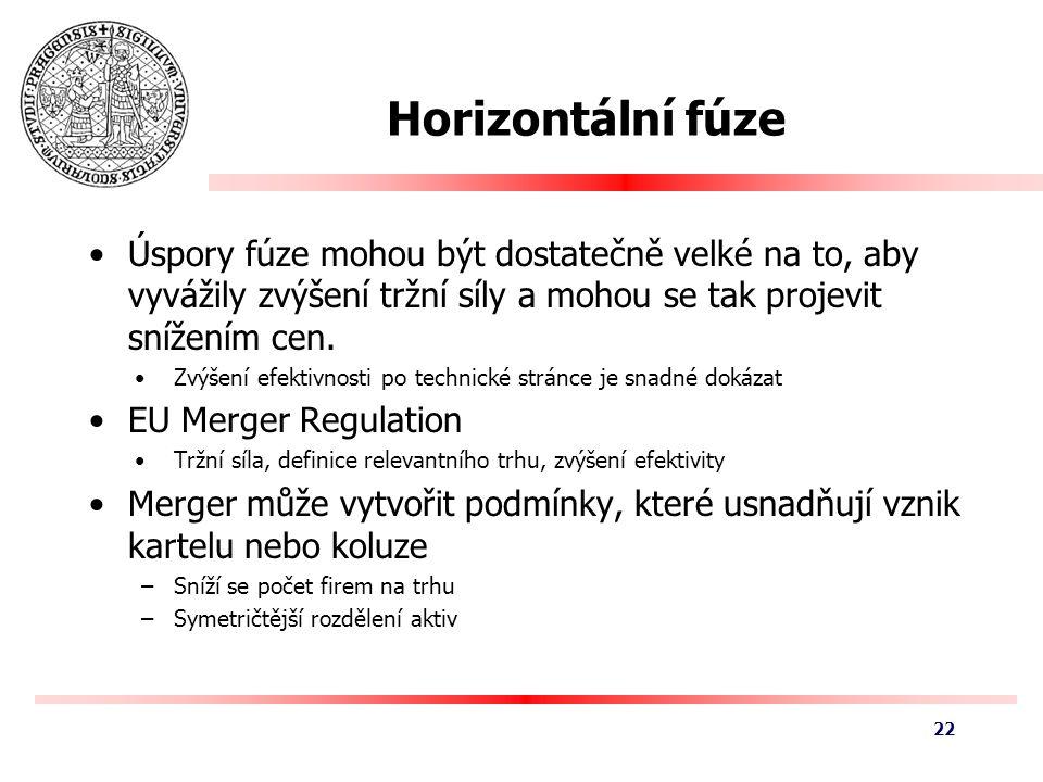 Horizontální fúze Úspory fúze mohou být dostatečně velké na to, aby vyvážily zvýšení tržní síly a mohou se tak projevit snížením cen.