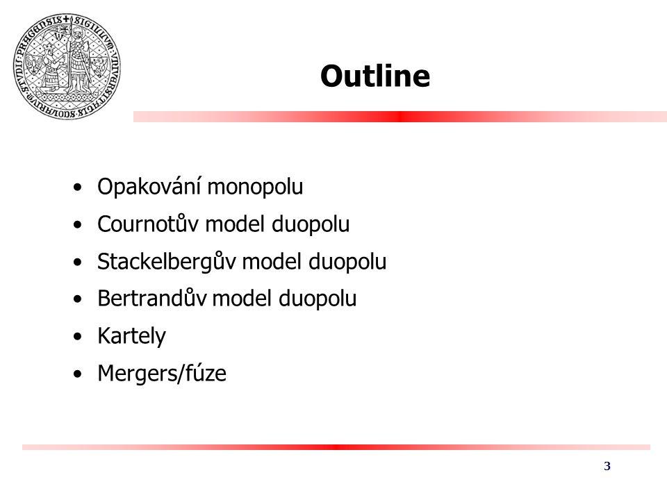 Outline Opakování monopolu Cournotův model duopolu Stackelbergův model duopolu Bertrandův model duopolu Kartely Mergers/fúze 3