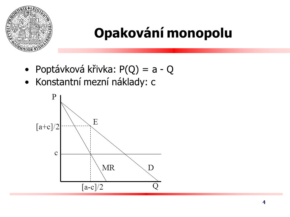 Opakování monopolu Poptávková křivka: P(Q) = a - Q Konstantní mezní náklady: c [a-c]/2 Q P DMR c [a+c]/2 E 4