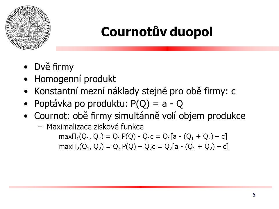 Cournotův duopol Dvě firmy Homogenní produkt Konstantní mezní náklady stejné pro obě firmy: c Poptávka po produktu: P(Q) = a - Q Cournot: obě firmy simultánně volí objem produkce –Maximalizace ziskové funkce maxΠ 1 (Q 1, Q 2 ) = Q 1 P(Q) - Q 1 c = Q 1 [a - (Q 1 + Q 2 ) – c] maxΠ 2 (Q 1, Q 2 ) = Q 2 P(Q) – Q 2 c = Q 2 [a - (Q 1 + Q 2 ) – c] 5
