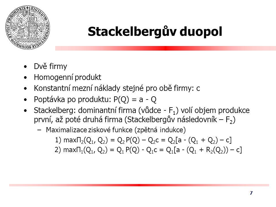 Stackelbergův duopol Q2Q2 Q1Q1 (0, a-c) (a-c, 0) (0, [a-c]/2) ([a-c]/2, 0) R 1 (Q 2 ) R 2 (Q 1 ) E 8
