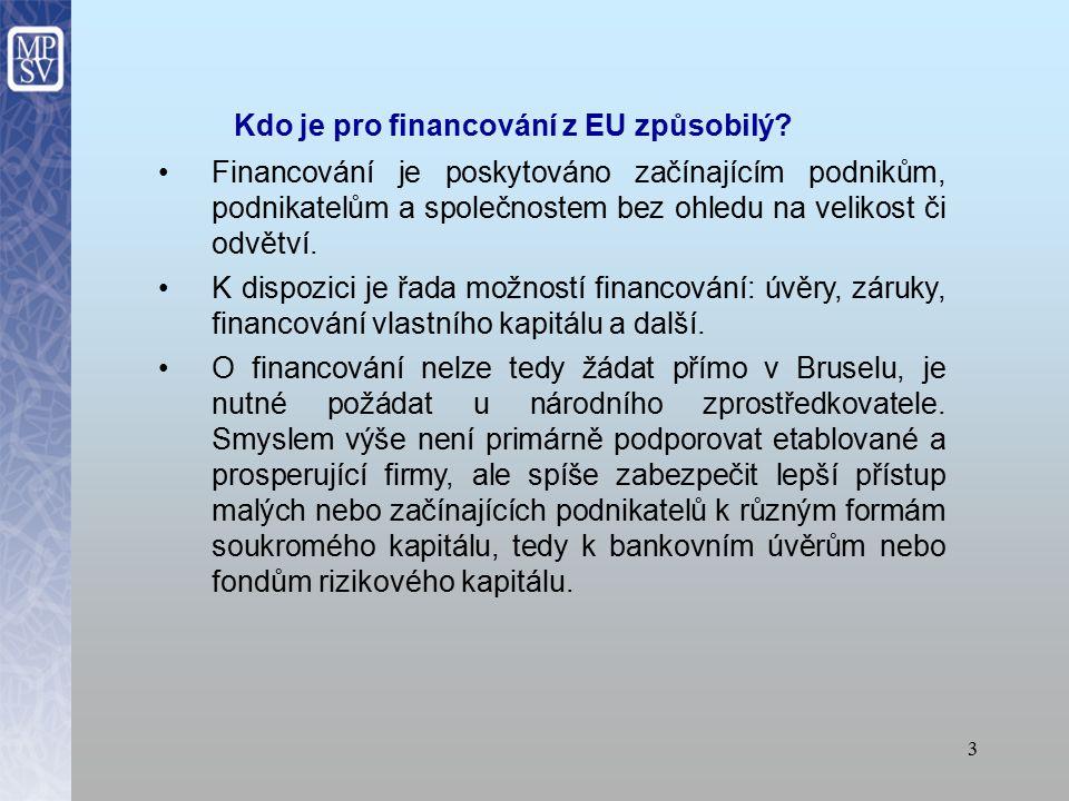 Přístup k finančním prostředkům EU Evropská unie podporuje podnikatele a podniky širokou škálou programů EU, které poskytují financování prostřednictvím národních finančních institucí Jak to funguje