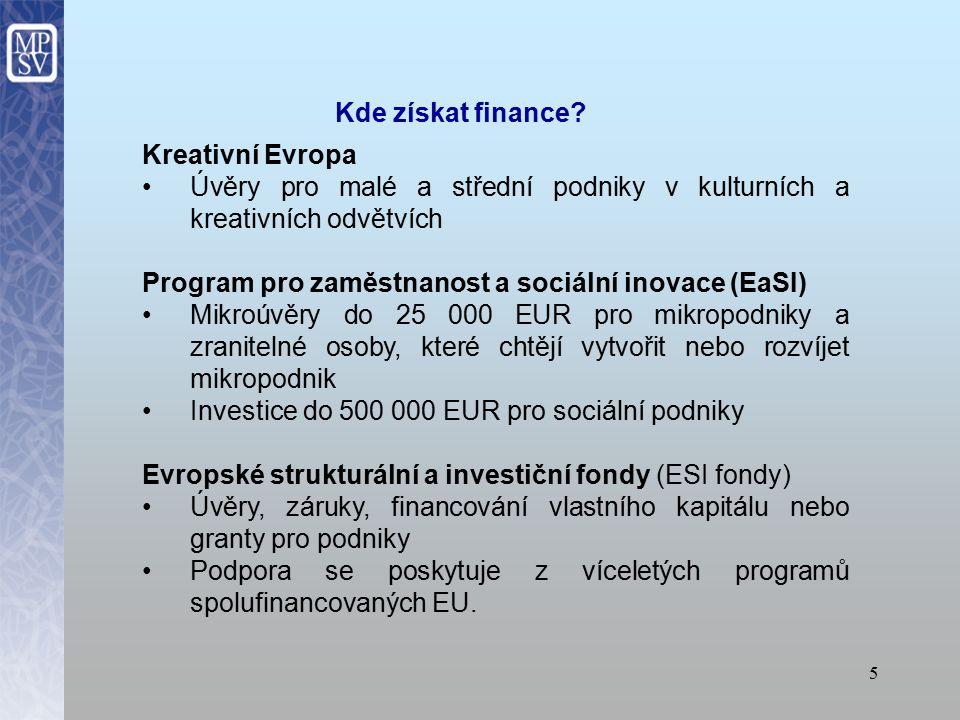 4 Program COSME Záruky malým a středním podnikům na úvěry převážně do 150 000 EUR.