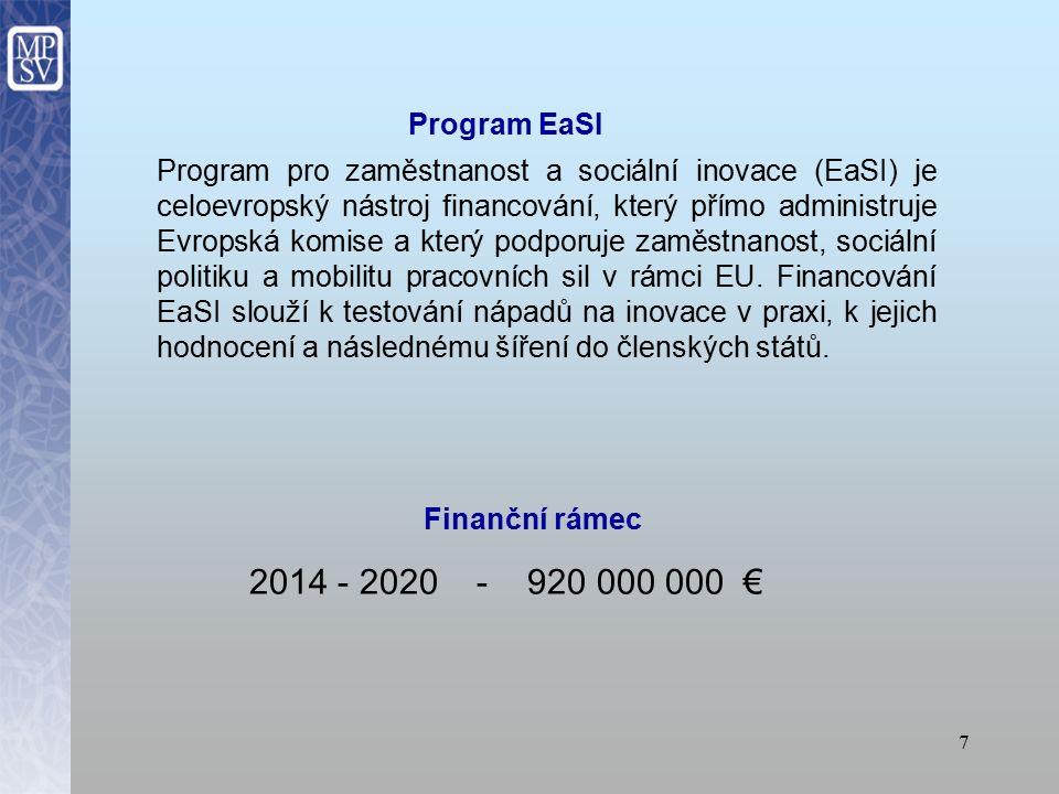 7 Program pro zaměstnanost a sociální inovace (EaSI) je celoevropský nástroj financování, který přímo administruje Evropská komise a který podporuje zaměstnanost, sociální politiku a mobilitu pracovních sil v rámci EU.