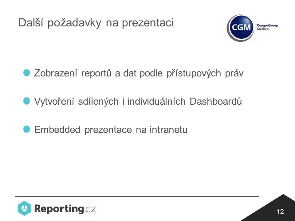 12 Další požadavky na prezentaci Zobrazení reportů a dat podle přístupových práv Vytvoření sdílených i individuálních Dashboardů Embedded prezentace na intranetu