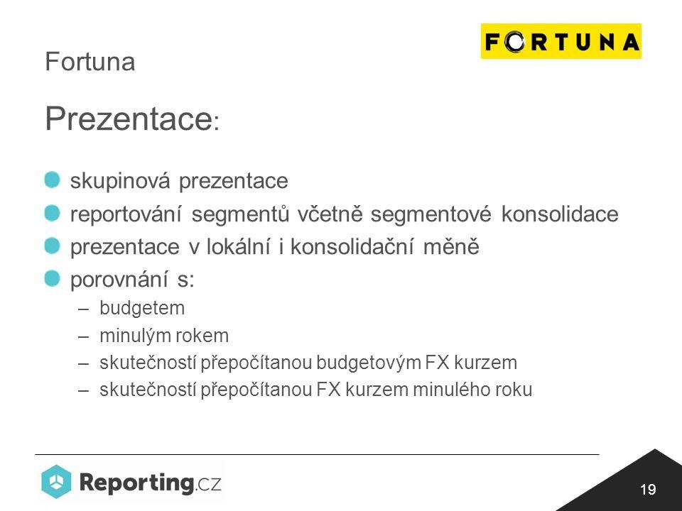 19 Fortuna Prezentace : skupinová prezentace reportování segmentů včetně segmentové konsolidace prezentace v lokální i konsolidační měně porovnání s: –budgetem –minulým rokem –skutečností přepočítanou budgetovým FX kurzem –skutečností přepočítanou FX kurzem minulého roku