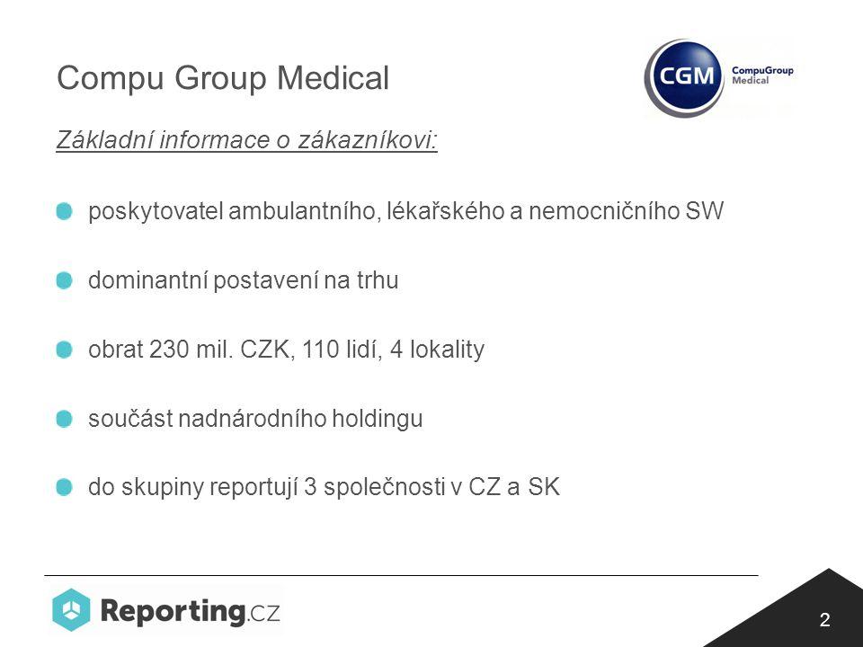 2 Compu Group Medical Základní informace o zákazníkovi: poskytovatel ambulantního, lékařského a nemocničního SW dominantní postavení na trhu obrat 230 mil.