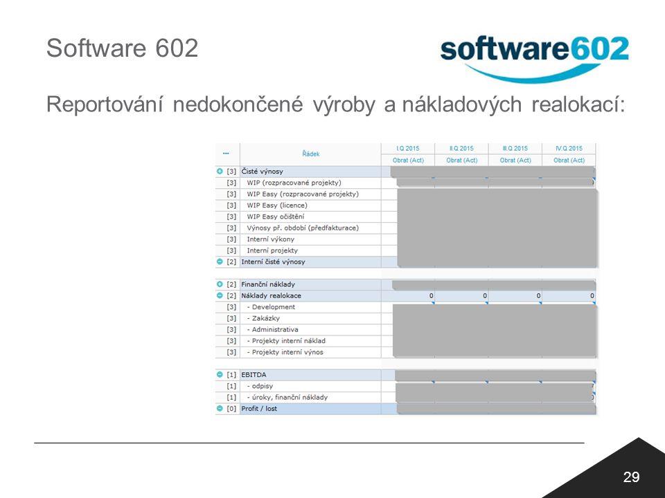 Software 602 Reportování nedokončené výroby a nákladových realokací: 29