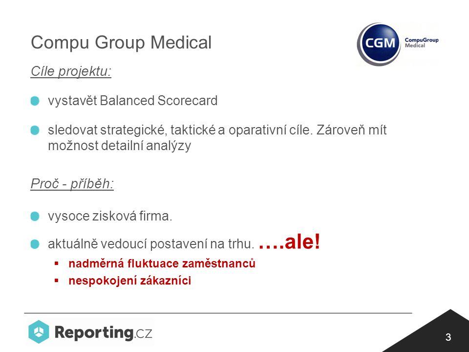 3 Compu Group Medical Cíle projektu: vystavět Balanced Scorecard sledovat strategické, taktické a oparativní cíle.