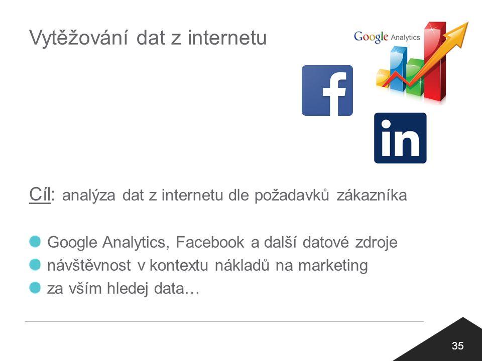 Vytěžování dat z internetu 35 Cíl: analýza dat z internetu dle požadavků zákazníka Google Analytics, Facebook a další datové zdroje návštěvnost v kontextu nákladů na marketing za vším hledej data…