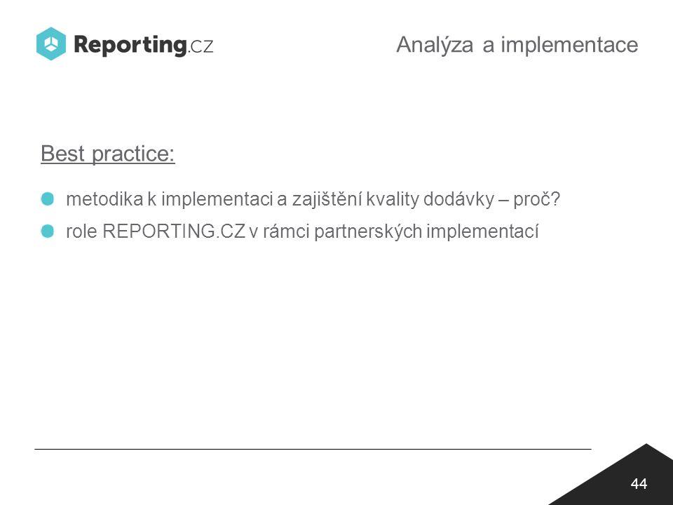 Analýza a implementace 44 Best practice: metodika k implementaci a zajištění kvality dodávky – proč.