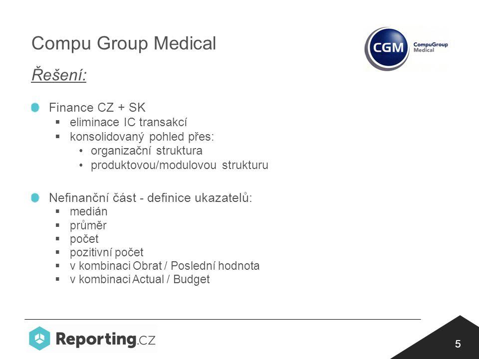 5 Compu Group Medical Řešení: Finance CZ + SK  eliminace IC transakcí  konsolidovaný pohled přes: organizační struktura produktovou/modulovou strukturu Nefinanční část - definice ukazatelů:  medián  průměr  počet  pozitivní počet  v kombinaci Obrat / Poslední hodnota  v kombinaci Actual / Budget