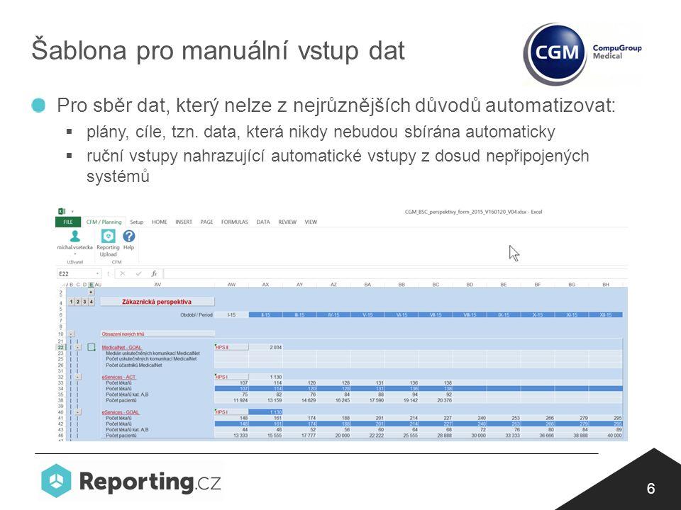 6 Šablona pro manuální vstup dat Pro sběr dat, který nelze z nejrůznějších důvodů automatizovat:  plány, cíle, tzn.