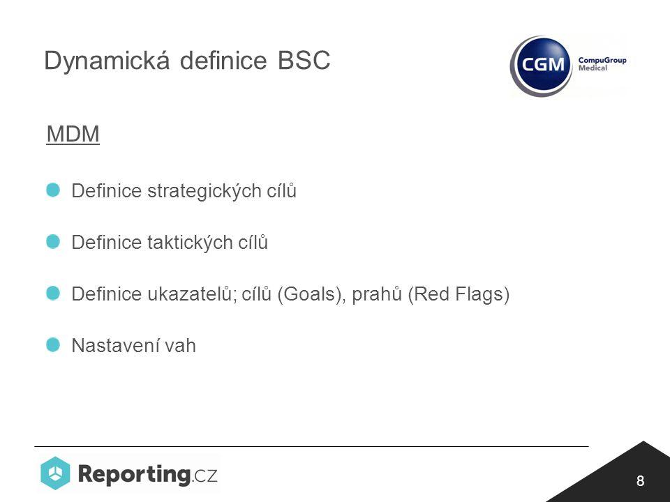 8 Dynamická definice BSC MDM Definice strategických cílů Definice taktických cílů Definice ukazatelů; cílů (Goals), prahů (Red Flags) Nastavení vah