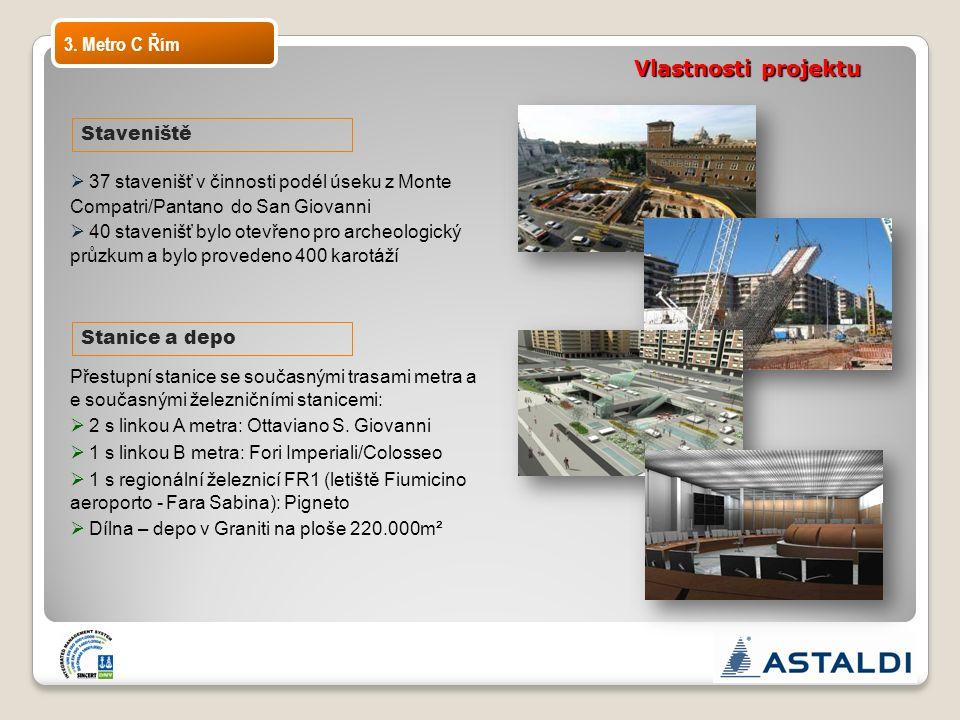 Vlastnosti projektu  37 stavenišť v činnosti podél úseku z Monte Compatri/Pantano do San Giovanni  40 stavenišť bylo otevřeno pro archeologický průz