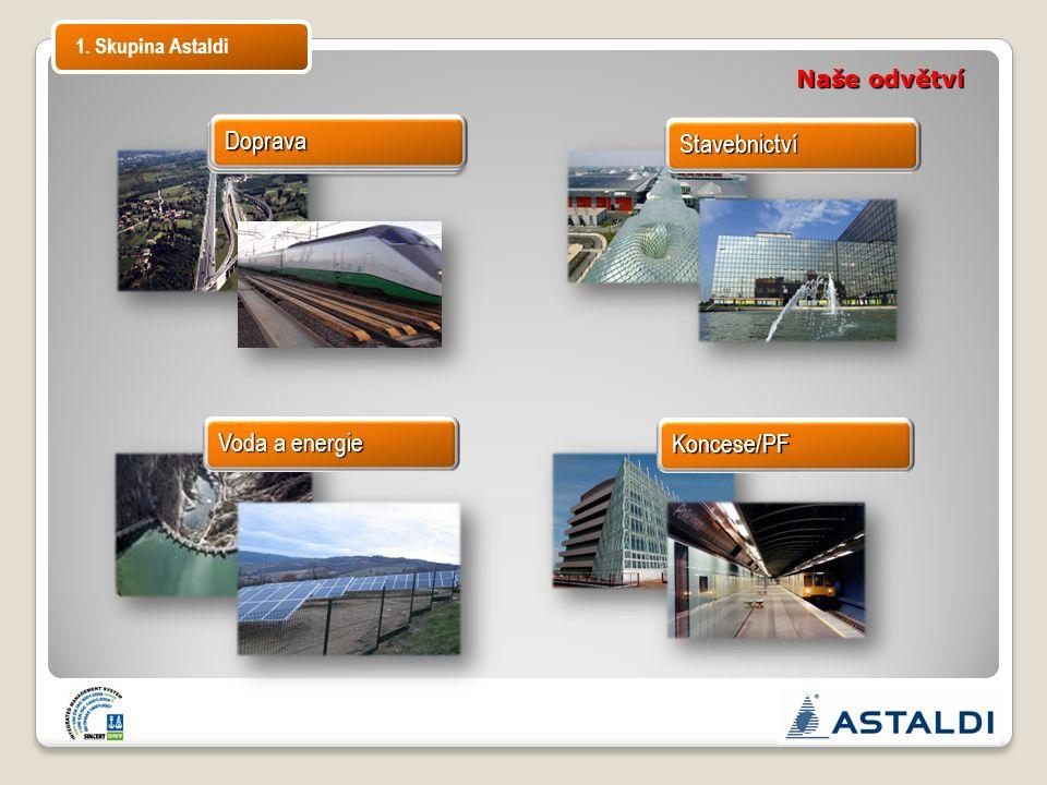 Koncese/PF Voda a energie Stavebnictví Naše odvětví 1. Skupina Astaldi Doprava