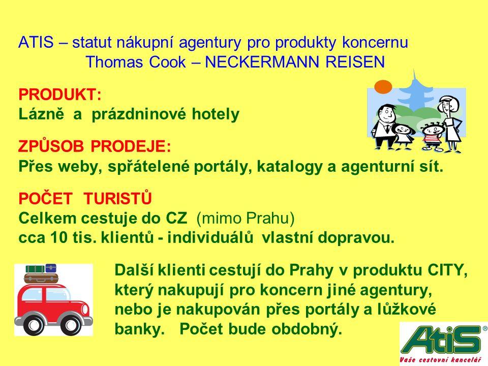 ATIS – statut nákupní agentury pro produkty koncernu Thomas Cook – NECKERMANN REISEN PRODUKT: Lázně a prázdninové hotely ZPŮSOB PRODEJE: Přes weby, spřátelené portály, katalogy a agenturní sít.