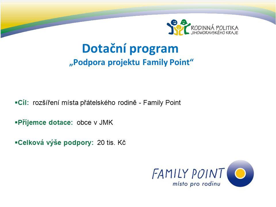 """Dotační program """"Podpora projektu Family Point  Cíl: rozšíření místa přátelského rodině - Family Point  Příjemce dotace: obce v JMK  Celková výše podpory: 20 tis."""