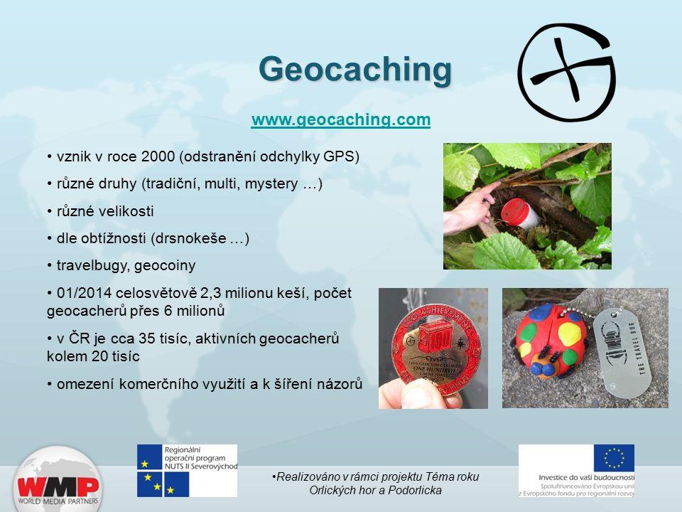 Geocaching www.geocaching.com vznik v roce 2000 (odstranění odchylky GPS) různé druhy (tradiční, multi, mystery …) různé velikosti dle obtížnosti (drsnokeše …) travelbugy, geocoiny 01/2014 celosvětově 2,3 milionu keší, počet geocacherů přes 6 milionů v ČR je cca 35 tisíc, aktivních geocacherů kolem 20 tisíc omezení komerčního využití a k šíření názorů Realizováno v rámci projektu Téma roku Orlických hor a Podorlicka