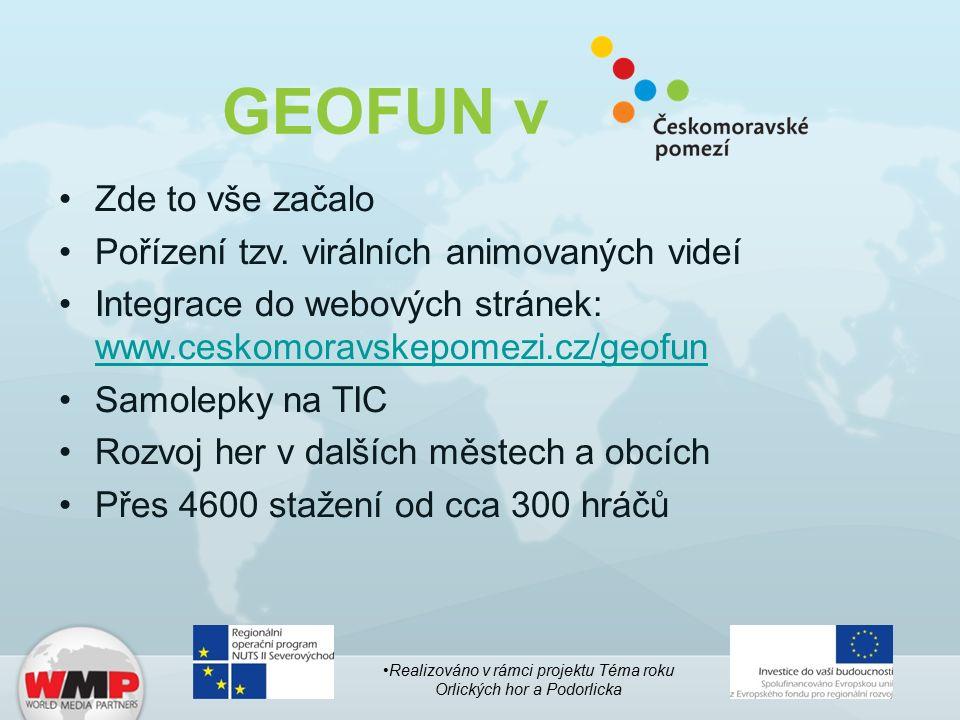 GEOFUN v Zde to vše začalo Pořízení tzv. virálních animovaných videí Integrace do webových stránek: www.ceskomoravskepomezi.cz/geofun www.ceskomoravsk