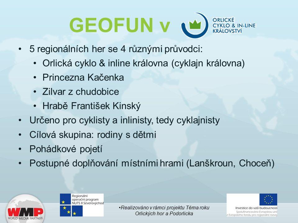 GEOFUN v 5 regionálních her se 4 různými průvodci: Orlická cyklo & inline královna (cyklajn královna) Princezna Kačenka Zilvar z chudobice Hrabě Frant