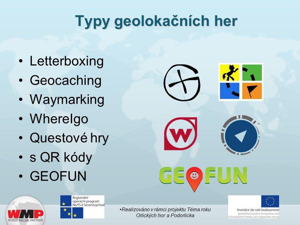 Typy geolokačních her Letterboxing Geocaching Waymarking WhereIgo Questové hry s QR kódy GEOFUN Realizováno v rámci projektu Téma roku Orlických hor a