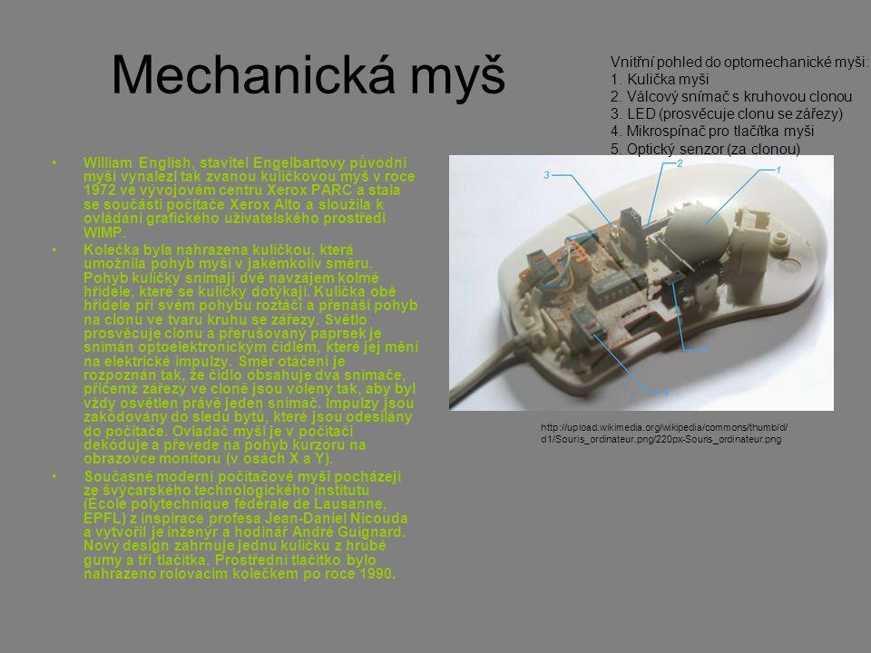 Mechanická myš William English, stavitel Engelbartovy původní myši vynalezl tak zvanou kuličkovou myš v roce 1972 ve vývojovém centru Xerox PARC a sta