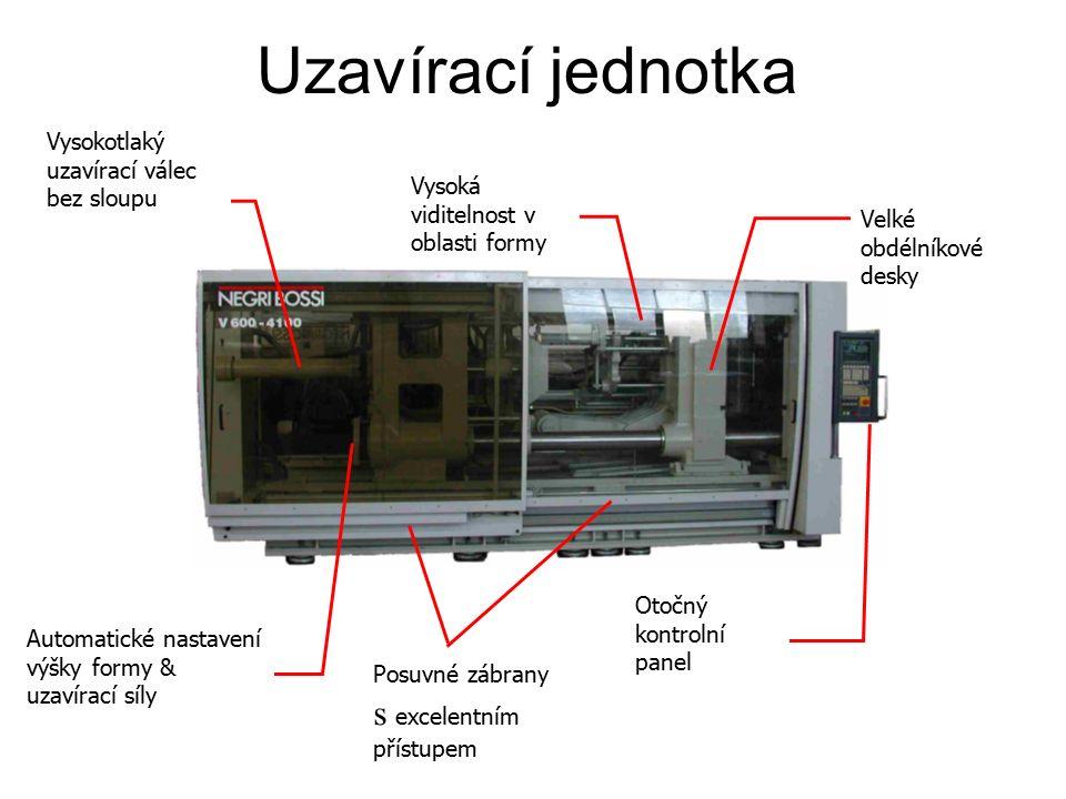 Vysokotlaký uzavírací válec bez sloupu Vysoká viditelnost v oblasti formy Otočný kontrolní panel Uzavírací jednotka Automatické nastavení výšky formy