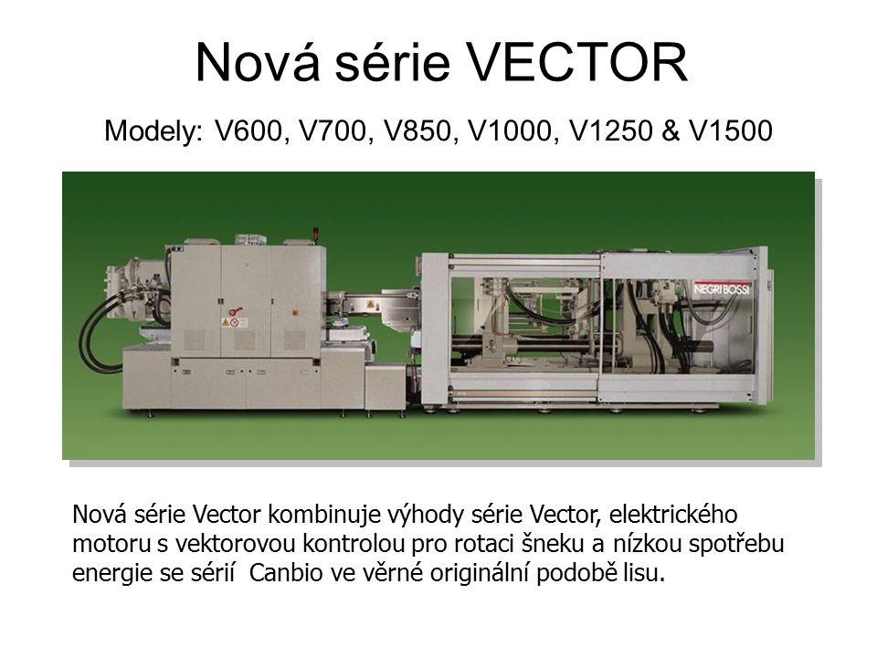 Nová série VECTOR Modely: V600, V700, V850, V1000, V1250 & V1500 Extrémně nízká spotřeba energie byla nejsilnějším aspektem projektu těchto lisů, ačkoliv byl trh rychle srozuměn, že zjednodušený hydraulický systém, jenž umožňuje používání elektrického pohonu šneku, ve své podstatě vede k více spolehlivému a jednoduchému udržování lisu.